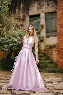 Vestido de festa longo zibeline alças groça, festa de casamento, madrinha, aniversário, formatura