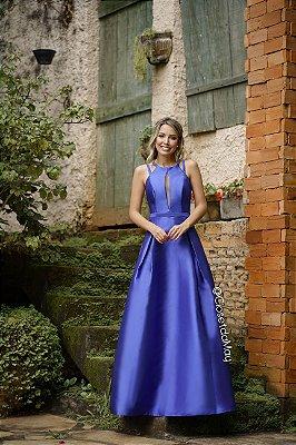 Vestido de festa longo zibeline alças grossa, festa de casamento, madrinha, aniversário, formatura