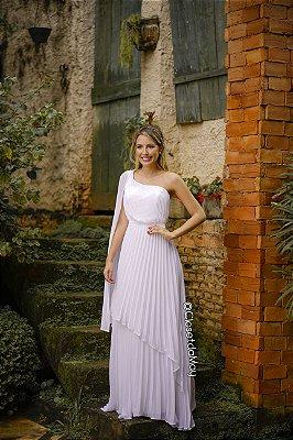 Vestido de noiva manga nula plissado, pre-wedding, noivado, batizado, casamento civil