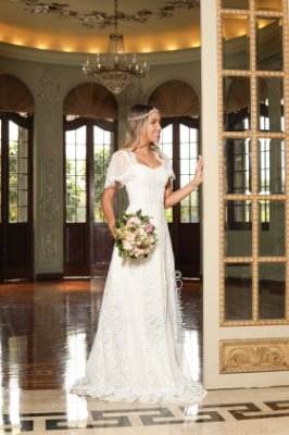 099424383 Vestido de noiva longo branco com tule poá, festa de casamento, civil,  batizado