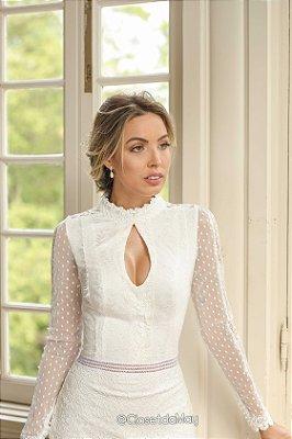 Vestido midi branco, noiva festa de casamento, civil, pre wedding, batizado, bodas