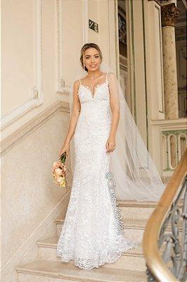 Vestido de casamento noiva branco alças, batizado, pre wedding, aniversário, bodas,