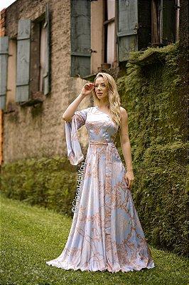 Vestido de festa longo manga nula estampado, madrinha de casamento, formatura, aniversário
