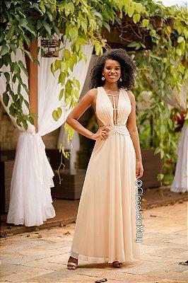 Vestido de festa longo top plissado com strass, madrinha de casamento, formatura, aniversário
