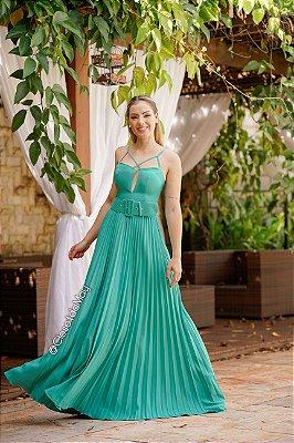 Vestido de festa longo decote com tiras com cinto channel saia plissada, madrinha de casamento, formatura, aniversário