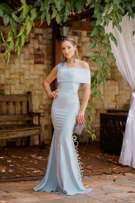 e5bb11f11 Vestido longo ombro manga nula modelo sereia, madrinha de casamento,  formatura, aniversário zoom