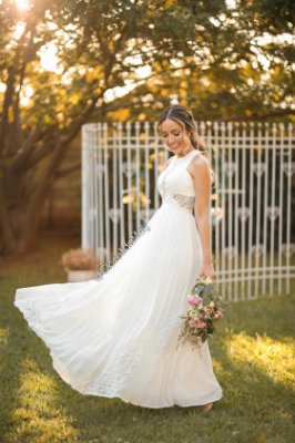c9ae8318a1 Vestido de noiva longo renda com plissado