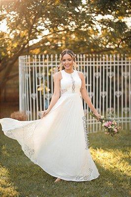 Vestido de noiva longo renda com plissado, casamento civil, batizado, bodas, pre wedding, branco