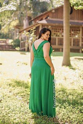 fed6ac64a4 Vestido de festa longo ombro a ombro com tule decote coração