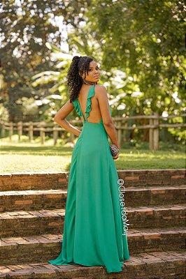 5723e81737 Vestido de festa longo alça com babado nas costas
