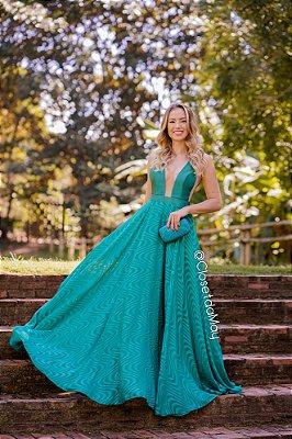 7b6a5a858a9f Vestido de festa longo decote com tule, madrinha de casamento, formatura,  aniversário zoom