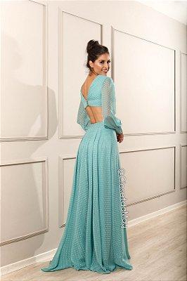 vestido de festa longo, manga longa, decote nas costas, fluido, para madrinha, formanda, convidada