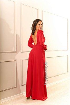 38655f4762c6 vestido de festa longo, manga longa, decote em V nas contas, para madrinhas,  convidadas