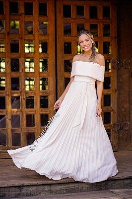 Vestido de noiva longo, ombro a ombro, saia plissado, com faixa, casamento civil, pré wedding