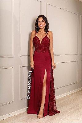 vestido de festa longo, com top bordado, tule bordado, bojo, fenda, alça, para madrinhas, convidada, formando