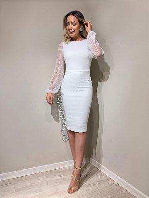 vestido branco midi tule poa, com bojo, manga transparente, para casamento, batizado.