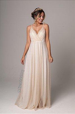 Vestido de festa longo com fenda fios de lurex fenda alças reguláveis, noiva civil, pre-wedding, formatura