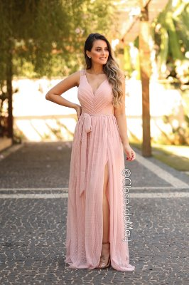 vestido de festa longo, tule poá, com faixa, bojo, para madrinhas, convidadas, aniversariante.