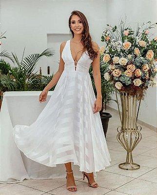 vestido de festa midi tiras, saia fluida, para casamento, batizado.