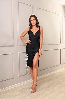vestido de festa midi com fenda, decote em V, para convidada, aniversariante.
