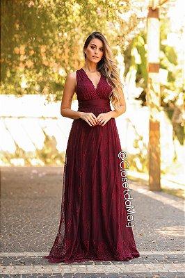vestido de festa longo tule em renda, com bojo, para madrinhas, convidadas.