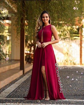 vestido de festa longo decote em tule, com fenda, para madrinhas, convidadas.