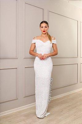 vestido de noiva longo ombro a ombro, paete, alça, decote coração, para casamento.