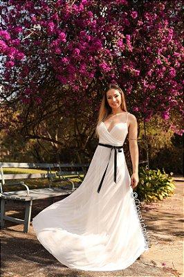 vestido de noiva longo alça, com bojo, cinto veludo, para casamento, batizado