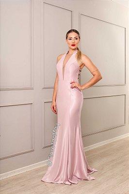 vestido de festa longo decote em V, sereia, com bojo, para madrinhas, convidadas.