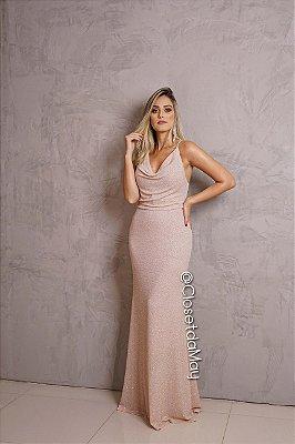 vestido de festa longo lurex, decote em V, alça, para madrinhas, convidadas, formanda.