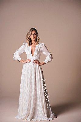 vestido de noiva longo manga longo. com listra cetim, decote em V, para casamento, batizado.