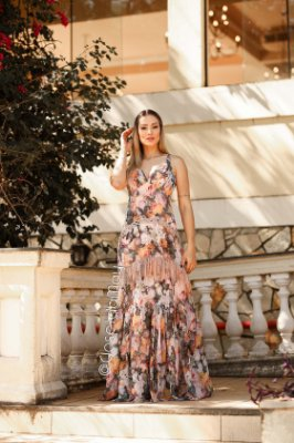 vestido de festa longo estampado, com babado em renda, para madrinhas, convidadas