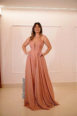 vestido de festa longo alça, decote em tule V, para madrinhas, convidadas