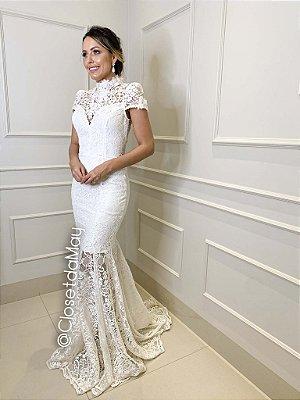 Vestido de casamento longo com bordado manga curta, noiva, casamento civil, bodas, pre wedding
