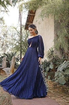 Vestido de festa longo saia plissada, manga nula, com bojo, lurex. Para madrinhas de casamento e convidadas.