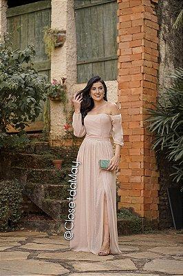 vestido de festa longo ombro a ombro, lurex, com fenda, para madrinhas, convidadas