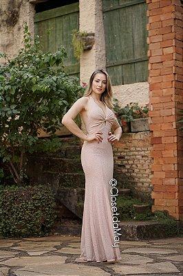 vestido de festa longo frente unica, lurex, com bojo, para madrinhas, convidadas, formanda