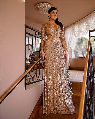 vestido de festa longo manda longa, decote lateral, tule em V, paete, para madrinha, convidadas, formanda