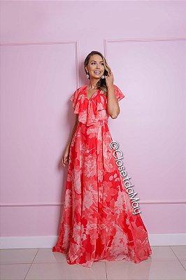 vestido de festa longo estampado, com babado, para madrinhas, convidadas