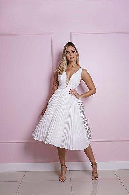 vestido de noiva midi saia plissada, tira, para casamento, batizado, bodas