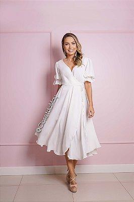 vestido de noiva midi manga, saia fluida, para casamento, bodas, batizado