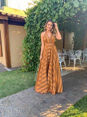 vestido de festa longo frente unica com listras, laço, para madrinhas, convidadas