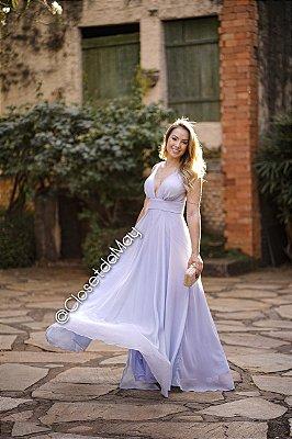 vestido de festa longo fluido, decote em V, com bojo, para madrinhas, convidadas