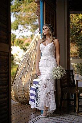 vestido de noiva com babado,  mix de renda, alça, para casamento, batizado, pre wedding