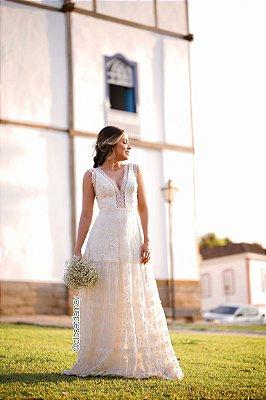 vestido de noiva longo marfim em renda, decote em V, para casamento, batizado, pre wedding
