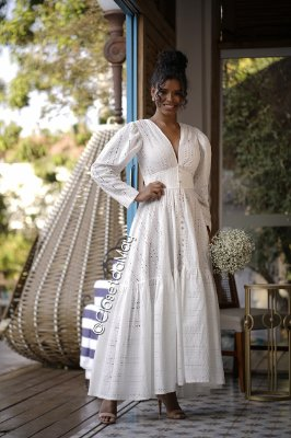 vestido de noiva longo manga longo, lese, com botões, para casamento, batizado, pre wedding