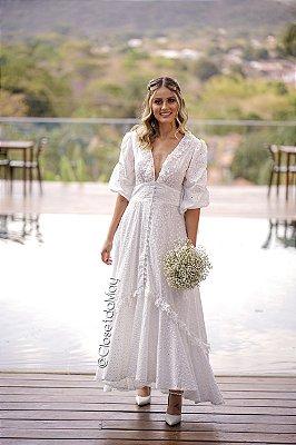 vestido de noiva longo decote em V, manga, com botões, para casamento, pre wedding, bodas