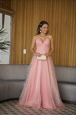 vestido de festa longo decote em V, organza, alça, para madrinhas, convidadas, aniversariante