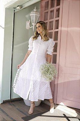 Vestido de noiva midi com mangas e gola alta,para casamento, pré wedding, batizado, culto.
