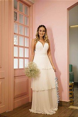 vestido de noiva longo, com bojo, decote em v e babados, para casamento, batizado, formatura, festa